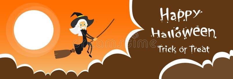 Hexen-Fliegen auf Besen-Halloween-Kostüm-Karikatur vektor abbildung