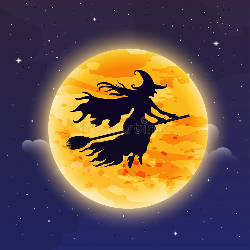 Hexen-Fliegen auf Besenstiel Anmerkungen und ein Baum in einem Mondschein Hexe silhuett vektor abbildung