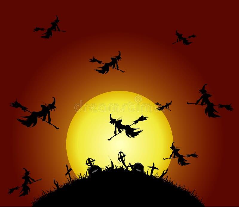 Hexen fliegen auf den Kirchhof stock abbildung