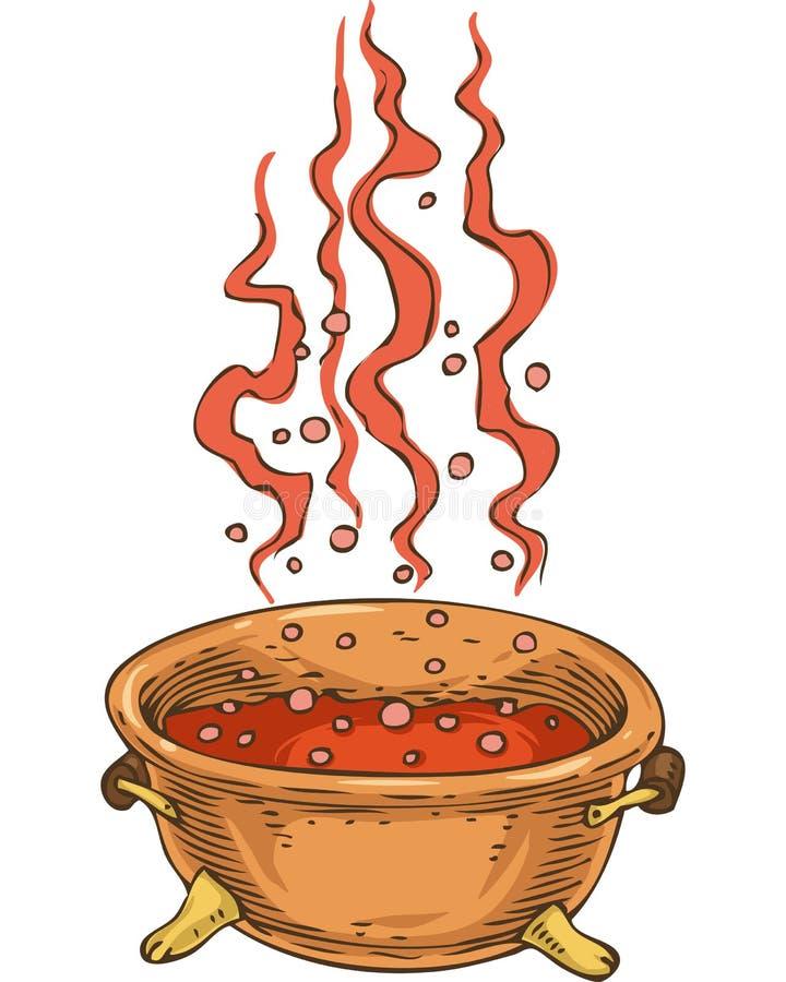 Hexen-großer Kessel mit rotem Trank vektor abbildung