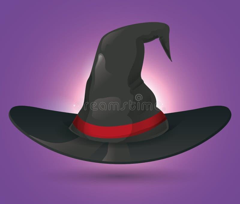 Hexen-Hut auf purpurrotem Hintergrund lizenzfreie abbildung