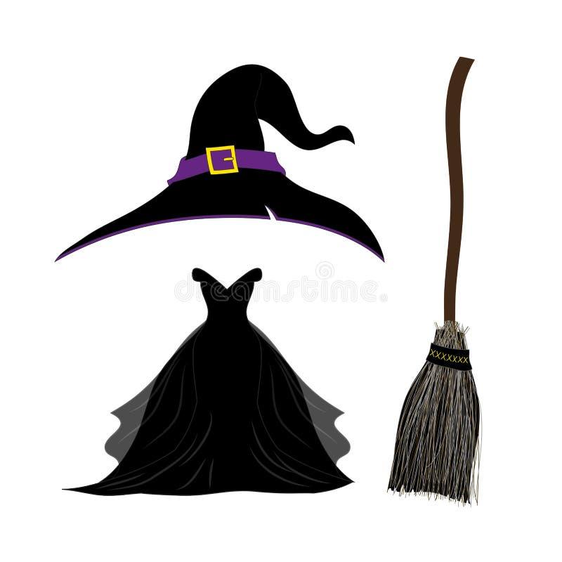 Hexen-Hut mit Bügel und Schnalle Schwarzes gotisches Hexen-Kleid lizenzfreie abbildung