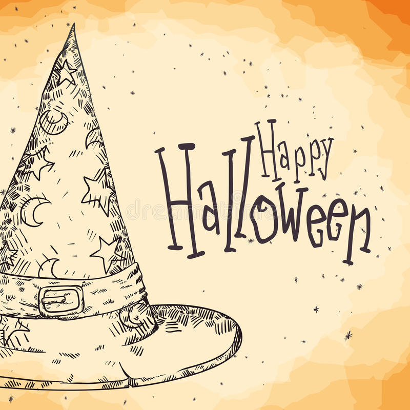 Hexen-Hut-Plakat des Handabgehobenen betrages, glückliches Halloween stock abbildung