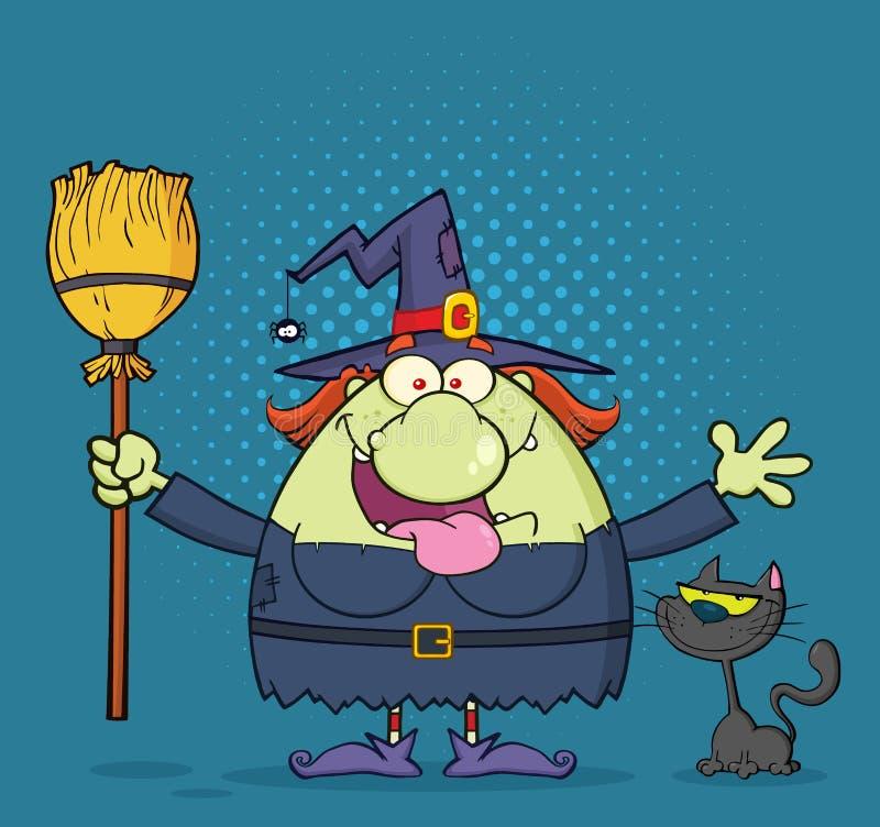 Hexen-Karikatur-Maskottchen-Charakter, der einen Besen mit schwarzer Katze hält vektor abbildung