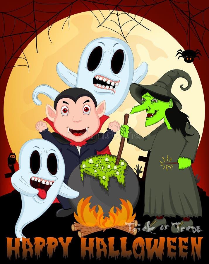 Hexen-Kochen, Dracula und Geist unter Vollmond-Vektor-Illustration für glückliches Halloween lizenzfreie abbildung