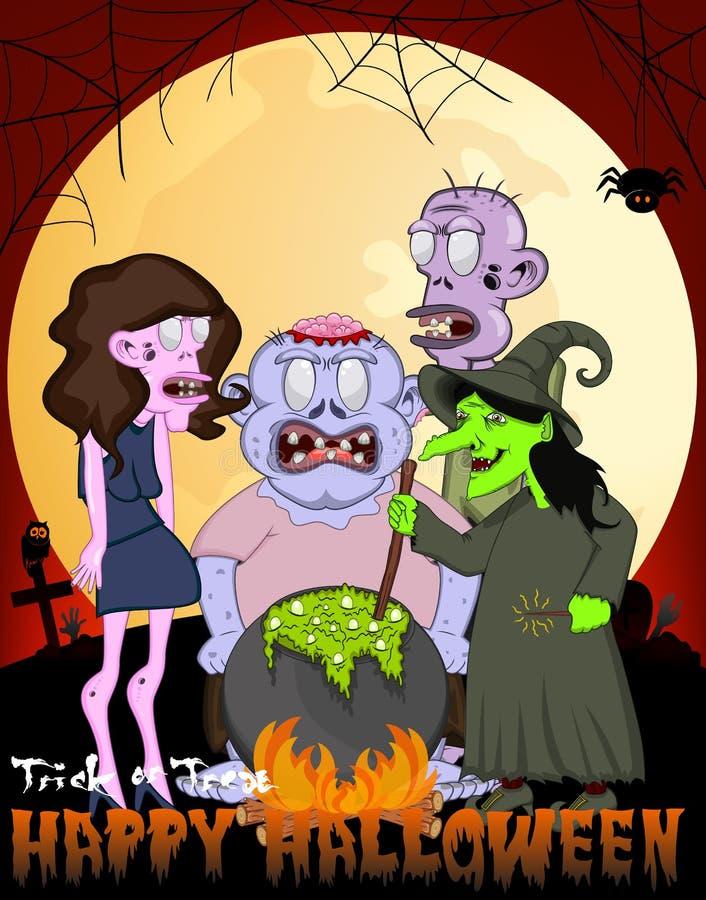 Hexen-Kochen und Zombie-Vektor-Illustration für glückliches Halloween vektor abbildung