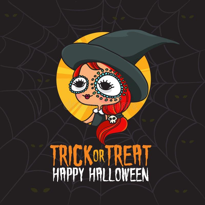 Hexen-Kostüm Halloweens Süßes sonst gibt's Saures lizenzfreie abbildung