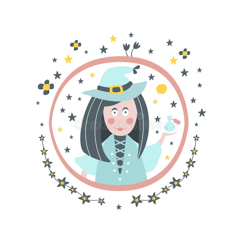 Hexen-Märchen-Charakter-Girly Aufkleber im runden Rahmen lizenzfreie abbildung