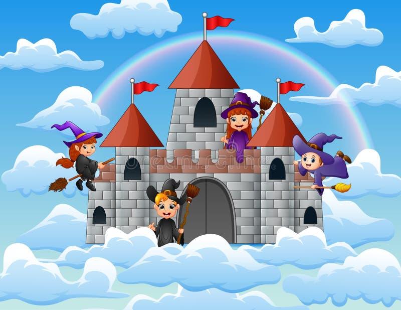Hexen mit ihrem magischen Besen flogen um das Schloss auf den Wolken lizenzfreie abbildung