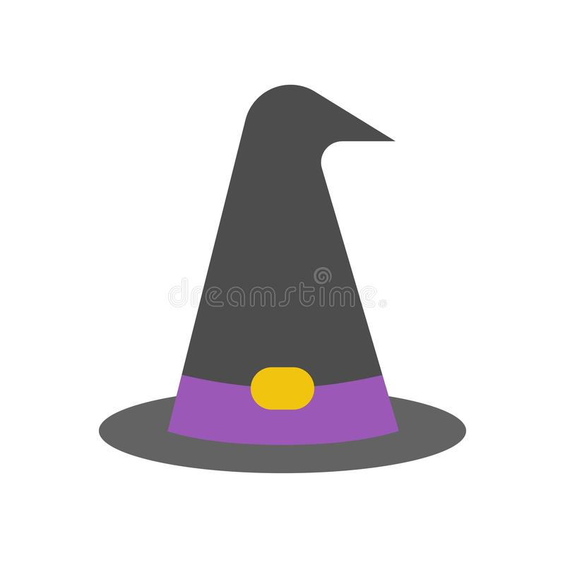 Hexen- oder Zaubererhut, Halloween bezog sich Ikone stock abbildung