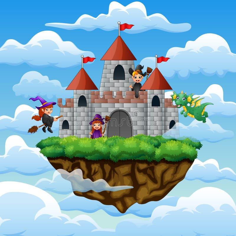 Hexen und Drache flogen um das Schloss auf den Wolken lizenzfreie abbildung