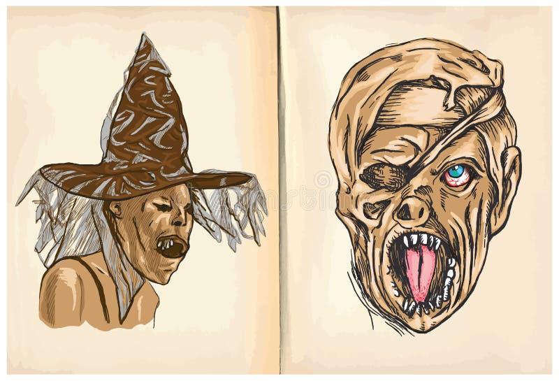 Hexen-und Monster-Mama - übergeben Sie Zeichnungen, Vektor lizenzfreie abbildung