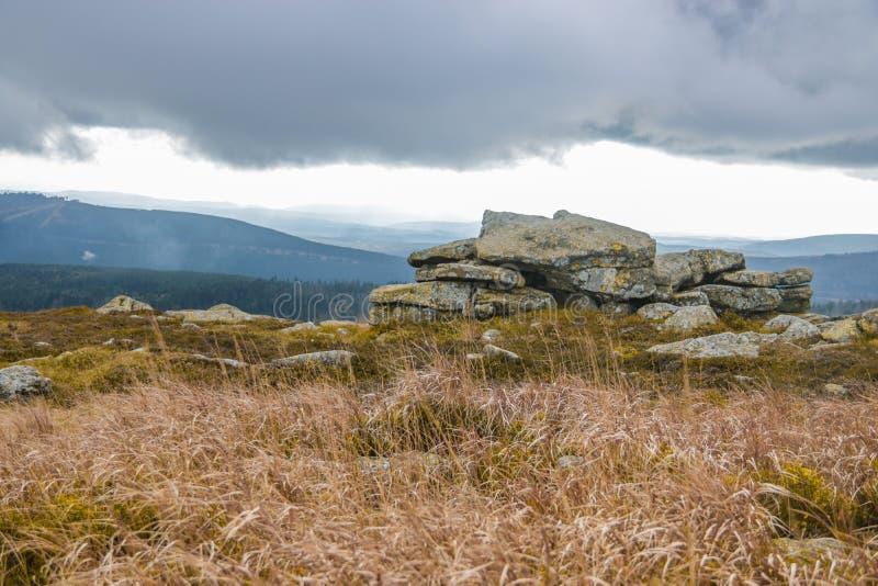 Hexenaltar na parte superior de Brocken, Harz fotos de stock royalty free