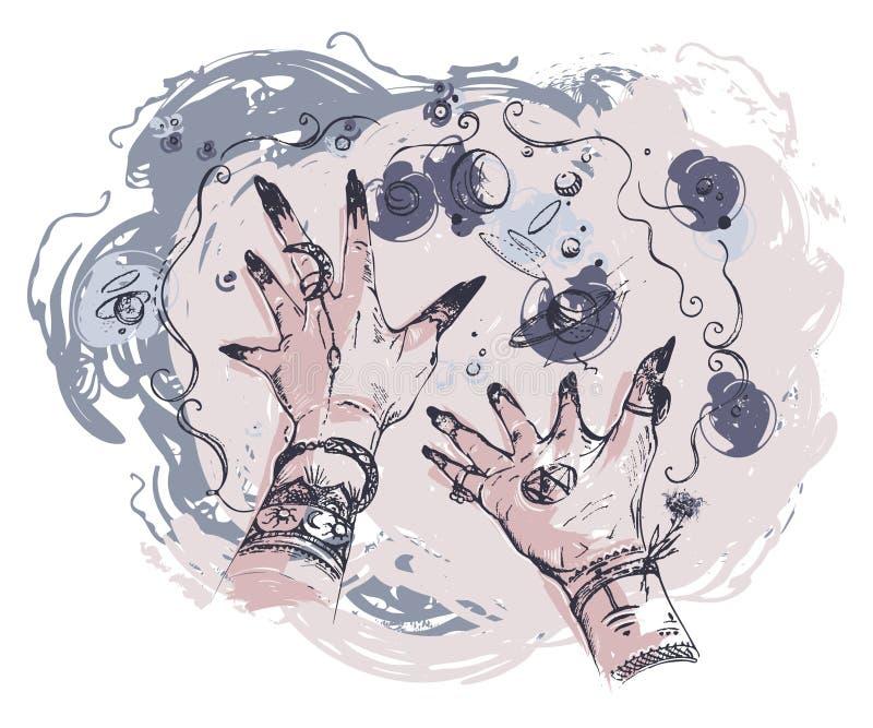 Hexenhände mit Magie geschieht herum Konzeptentwurf für Druck, Plakat, Tätowierung, Aufkleber, Karte vektor abbildung