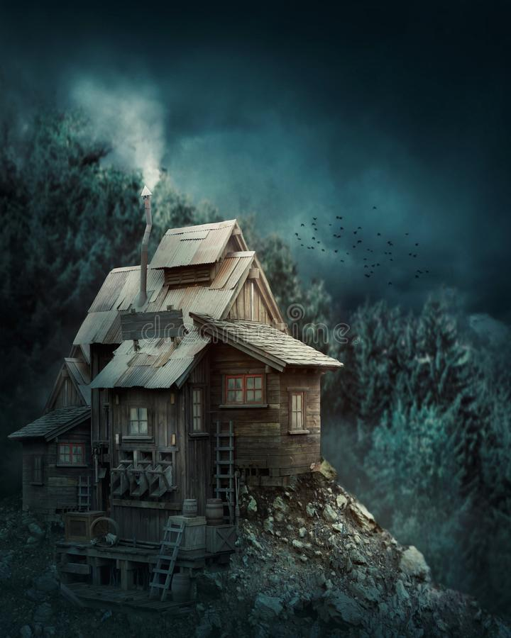 Hexenhaus im mysteriösen Wald stockfotos
