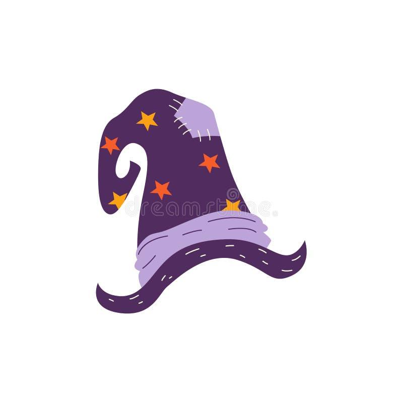 Hexenhut Halloweens des Vektors flacher magischer stock abbildung