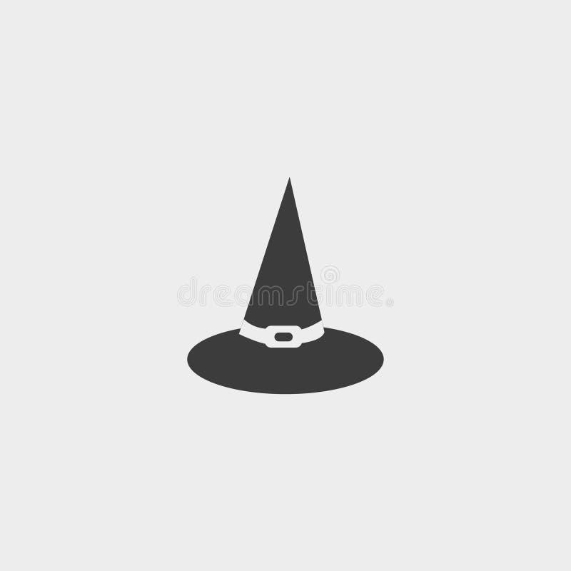 Hexenhut Ikone in einem flachen Design in der schwarzen Farbe Vektorabbildung EPS10 vektor abbildung