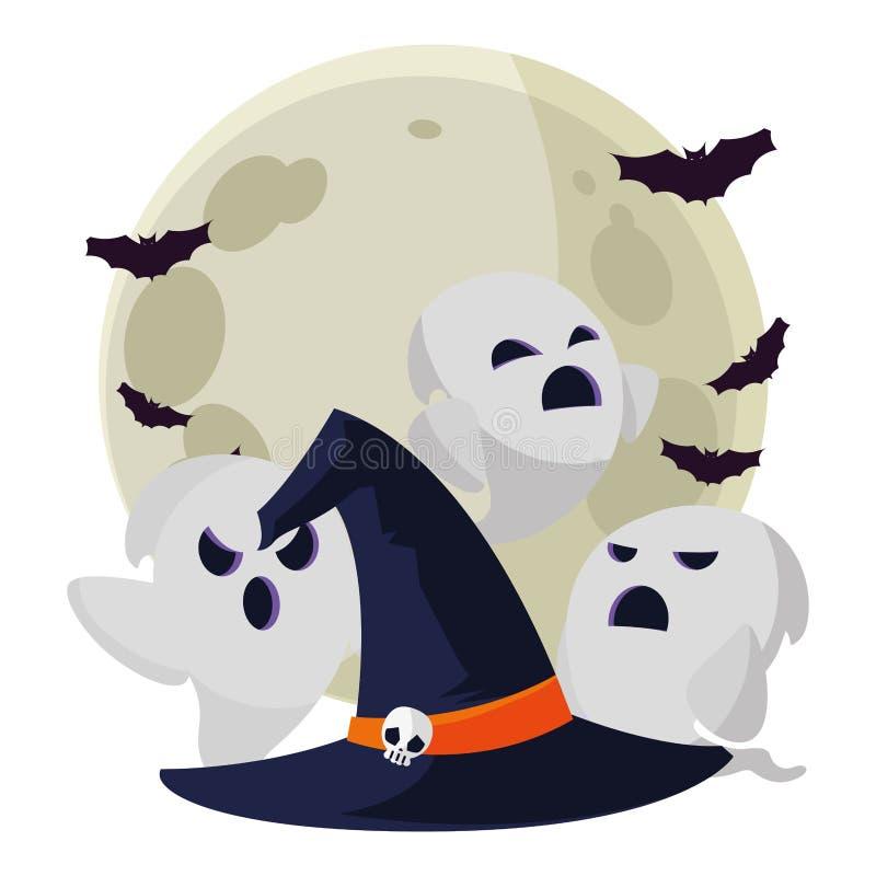 Hexenhut mit Geistern und Schlägern vektor abbildung