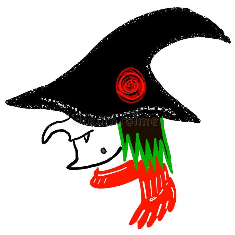 Hexenkopf, Zeichentrickfilm-Figur für Halloween-Feiertage Weibliches Hexenporträt im schwarzen Hut mit rosafarbener Blume, roter  lizenzfreie abbildung
