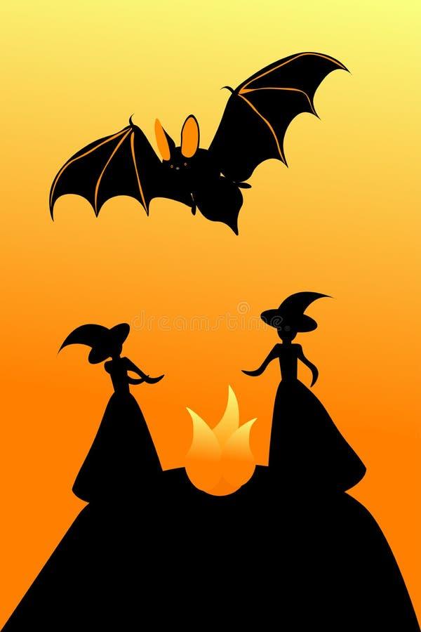Hexensabbat und -schläger für Halloween, Vektorillustration stock abbildung