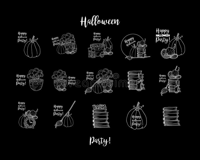 Hexenzubehör, Hut, Topf mit Trank, Wanduhr, Kürbis, Kerze, Flaschen für glücklichen Halloween-Feiertag lizenzfreie abbildung
