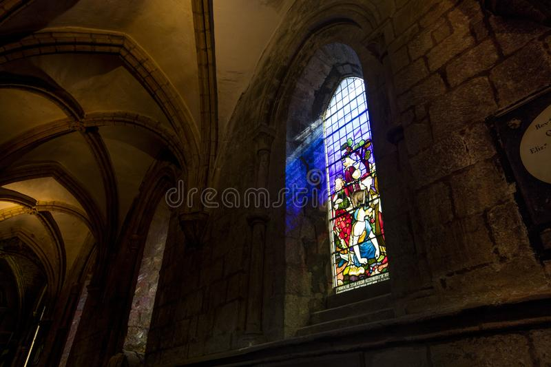 Hexham, Northumberland, United Kingdom, 9th May 2016, a stained glass window at Hexham Abbey. Hexham, Northumberland, United Kingdom, 9th May 2016, stained glass royalty free stock image