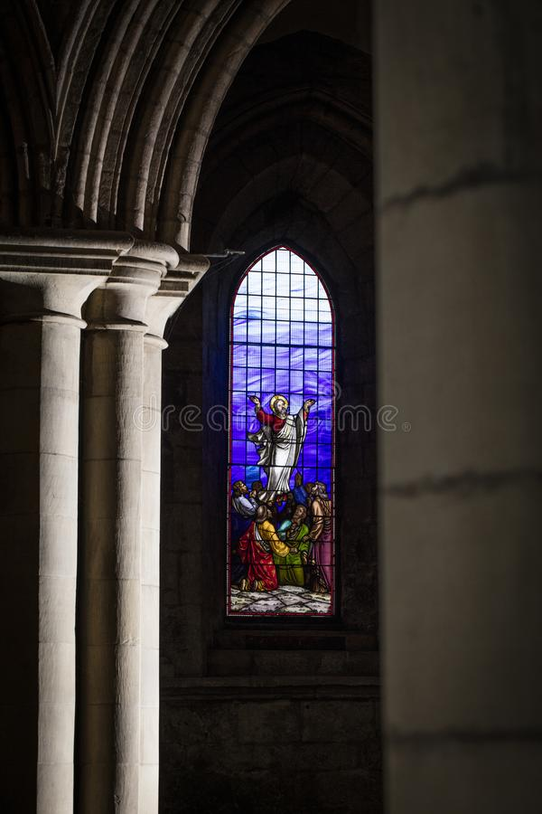Hexham, Northumberland, United Kingdom, 9th May 2016, stained glass window at the historic Hexham Abbey. Hexham, Northumberland, United Kingdom, 9th May 2016 stock photo