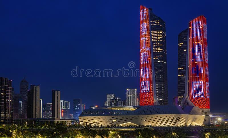 Hexi Olimpijska Centrum noc zdjęcie royalty free