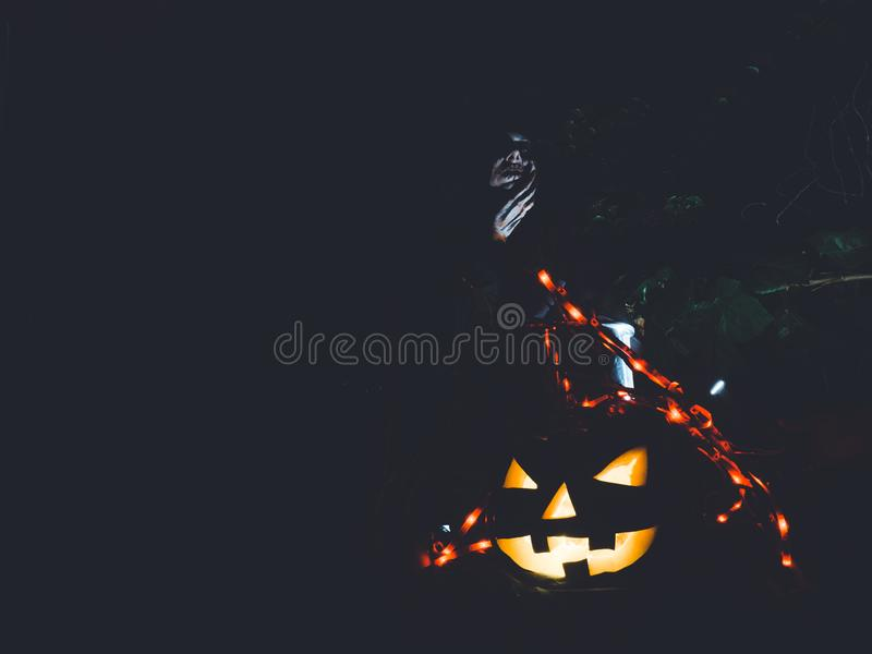 Hexing Wicked Witch in Halloween Horror Scene stock images