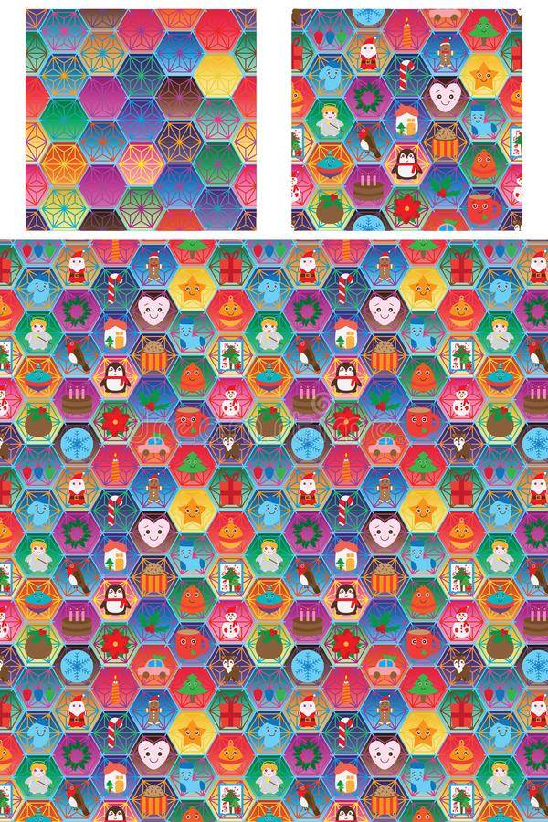 Hexogon kolorowego święto bożęgo narodzenia bezszwowy wzór ilustracji