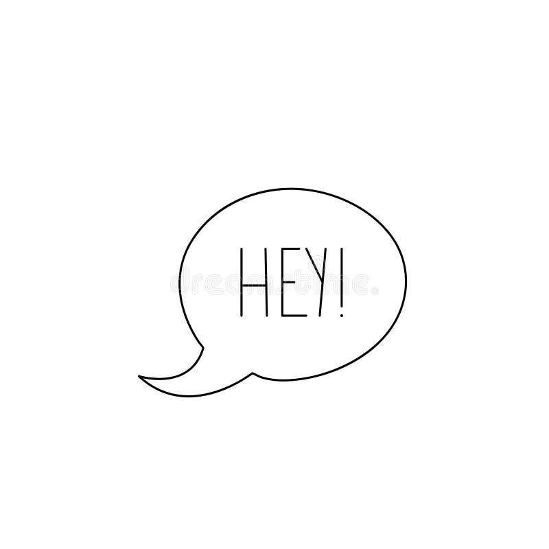 Hey текст сообщения Элементы нарисованные рукой для ваших дизайнов одевают, po бесплатная иллюстрация
