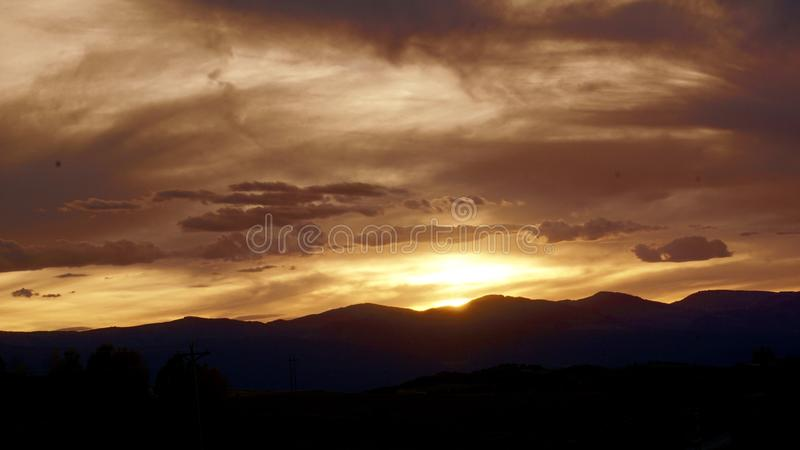 Hey Colorado fiery sunset stock photography