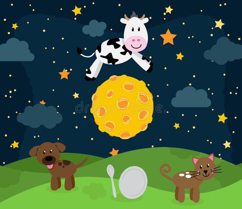 Hey Diddle Diddle Nursery Rhyme Landscape stock illustration