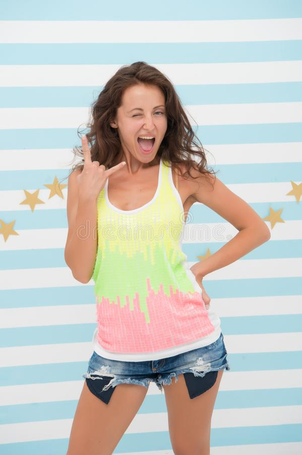 Hey girl. happy girl with cool gesture on colorful background. happy cool woman with long wavy hair. Looking trendy stock photos