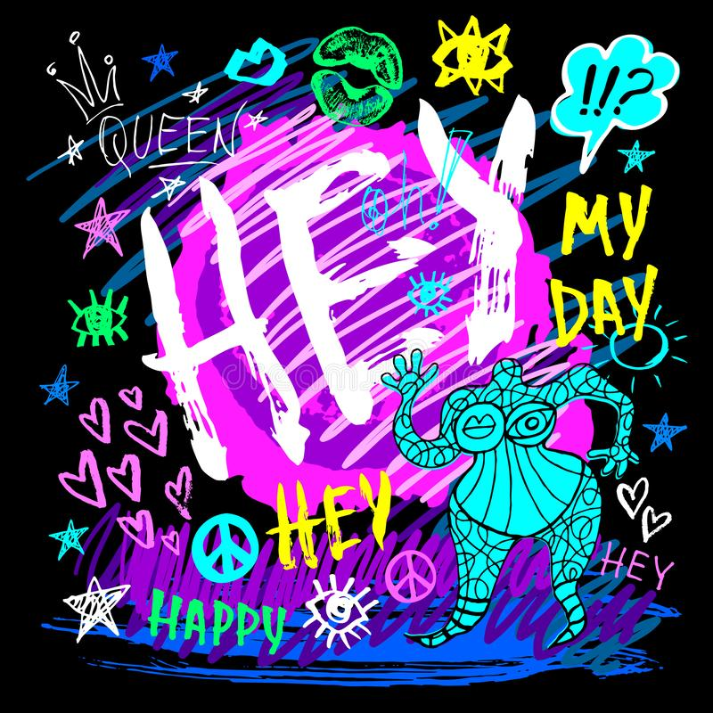 Hey lettering t shirt design, poster, print, funny, girl, tee shirt graphics, trendy, dry brush stroke, marker. Color pen, ink, neon. May day Queen happy type royalty free illustration