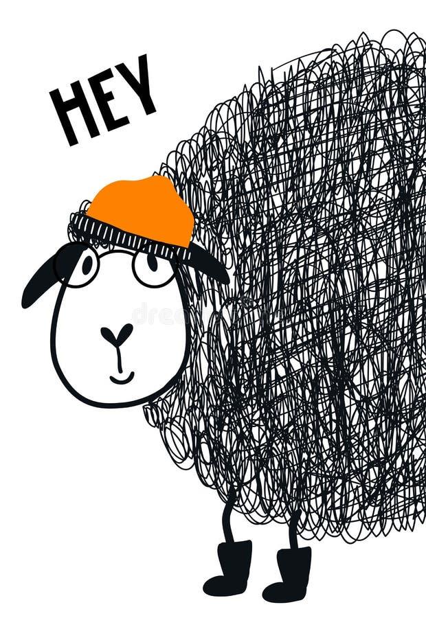 Hey - manifesto disegnato a mano sveglio della scuola materna con l'animale fresco delle pecore con i vetri e cappello ed iscrizi illustrazione vettoriale