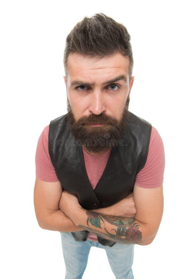 Hey u daar Hipster met snor en lange baard Witte achtergrond van mensen de rijpe gebaarde spier brutale hipster stock foto's