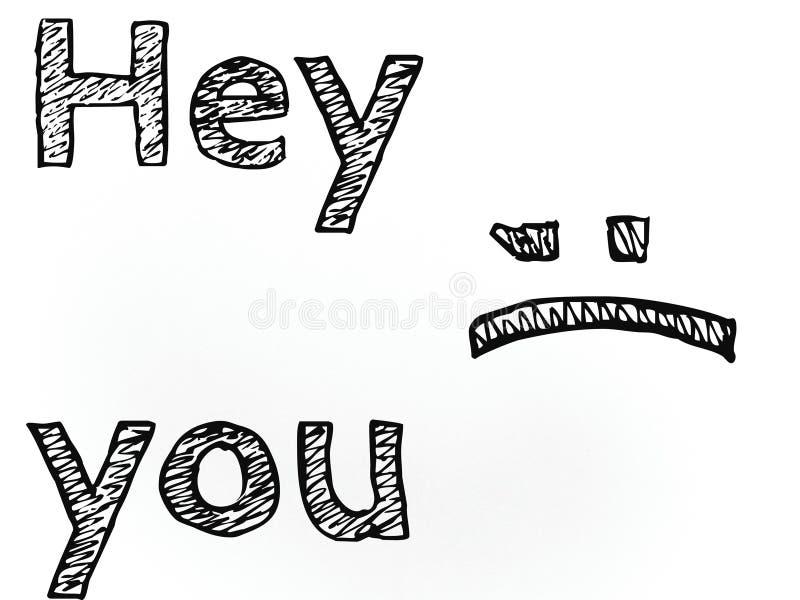 Hey u woorden op de witte achtergrond in zwarte kleurenteksten vector illustratie