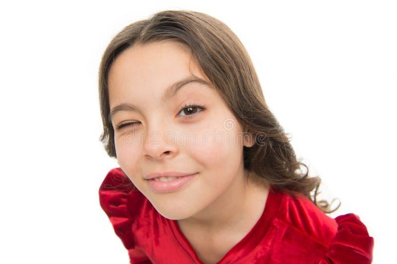 Hey você Cabelo brilhante saudável longo da menina da criança no fundo branco isolado Cara bonito feliz da criança com cabelo enc imagens de stock