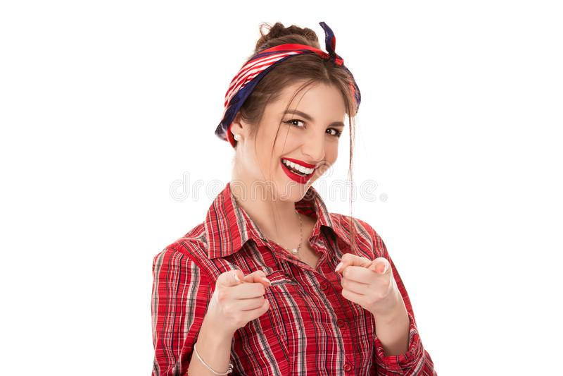 Hey você! A mulher que aponta na câmera, indicadores do ponto gesticula foto de stock