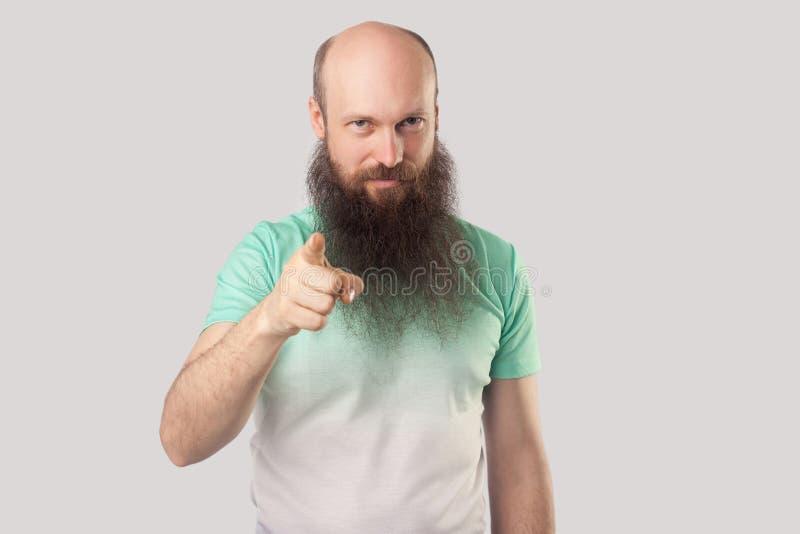 Hey você! O retrato do meio sério envelheceu o homem calvo com a barba longa em claro - posição verde do t-shirt, apontando e olh imagens de stock