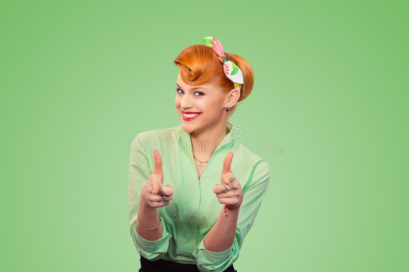 Hey you! Woman pointing index fingers gesture royalty free stock photography