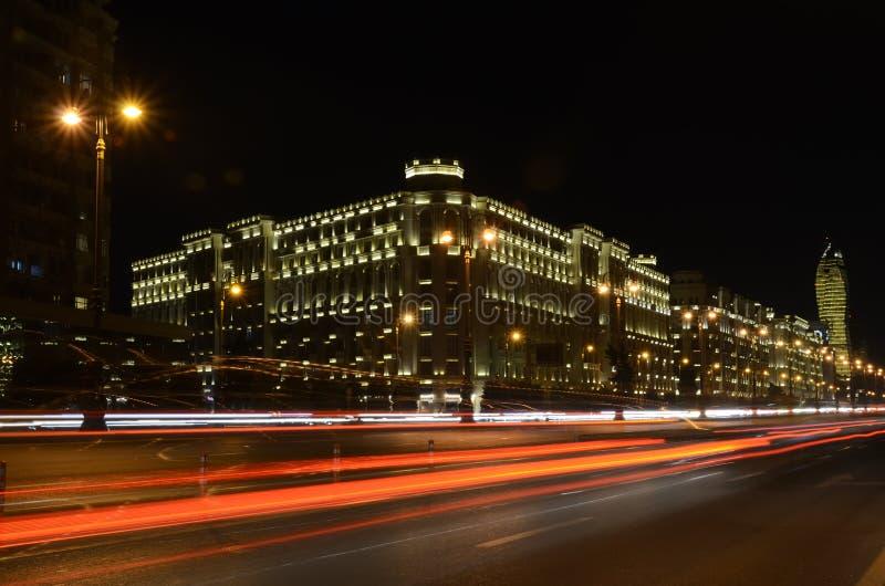 Heydar Aliyev Avenue in the evening.Baku,Azerbaijan. Light on the night Heydar Aliyev Avenue.Baku,Azerbaijan royalty free stock photography