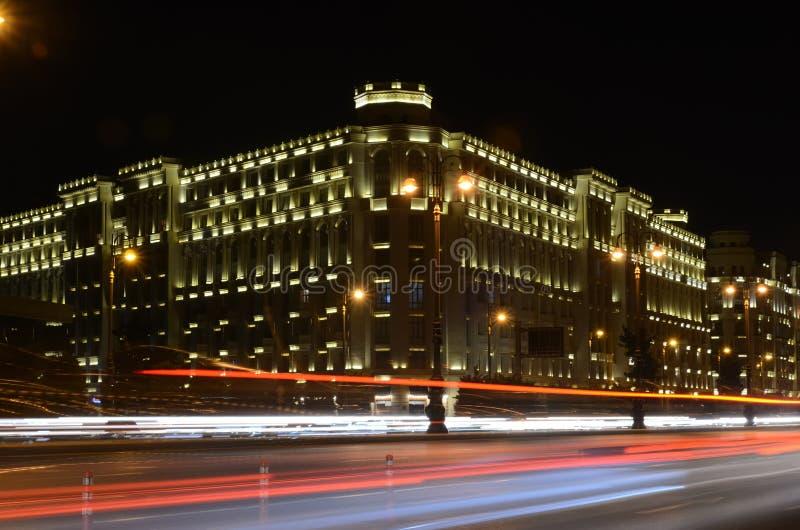 Heydar Aliyev Avenue in the evening.Baku,Azerbaijan. Light on the night Heydar Aliyev Avenue.Baku,Azerbaijan stock photos