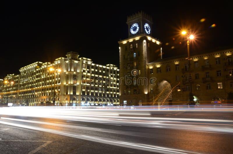 Heydar Aliyev Avenue in the evening.Baku,Azerbaijan. Light on the night Heydar Aliyev Avenue.Baku,Azerbaijan stock photography