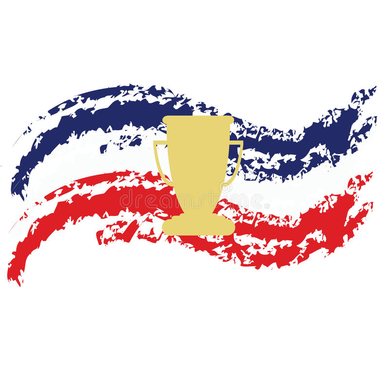 HFrance fotboll, guld- trofékopp och flagga av Frankrike royaltyfri illustrationer