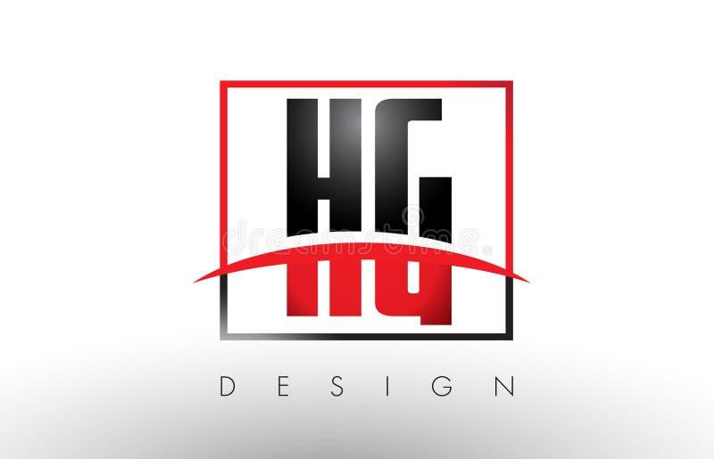 Hg H G Logo Letters met Rode en Zwarte Kleuren en Swoosh royalty-vrije illustratie