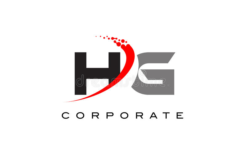 HG Modern Letter Logo Design with Swoosh royalty free illustration