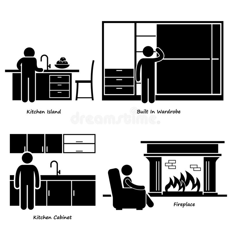 HHome House Built-in Furniture Cliparts. A set of human pictogram using different type of home built-in furniture. They are man using kitchen island, built-in stock illustration
