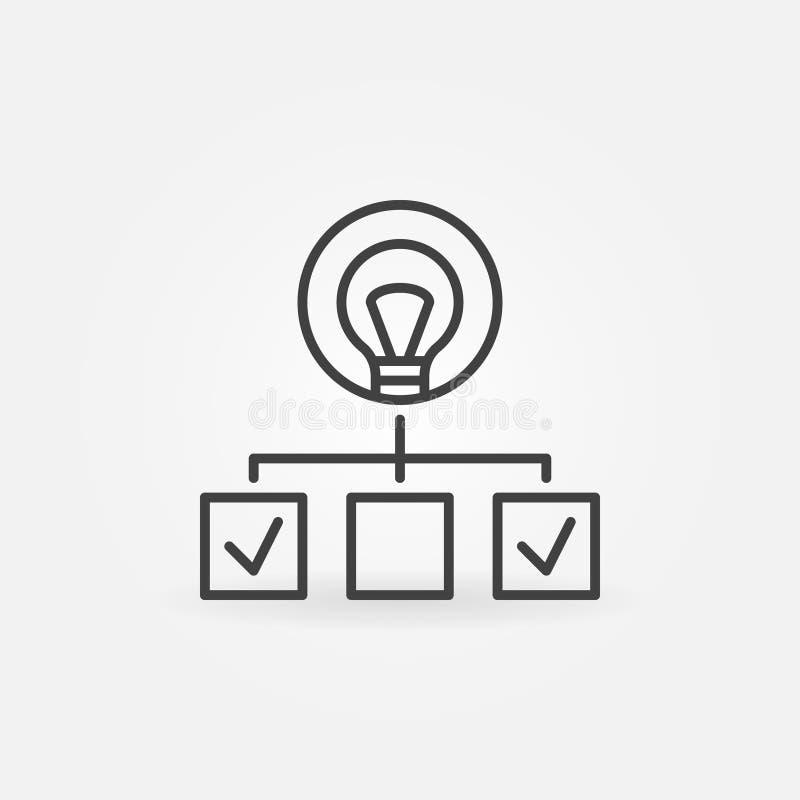 Hiérarchie avec l'icône linéaire d'ampoule Symbole de démarrage d'ensemble illustration stock